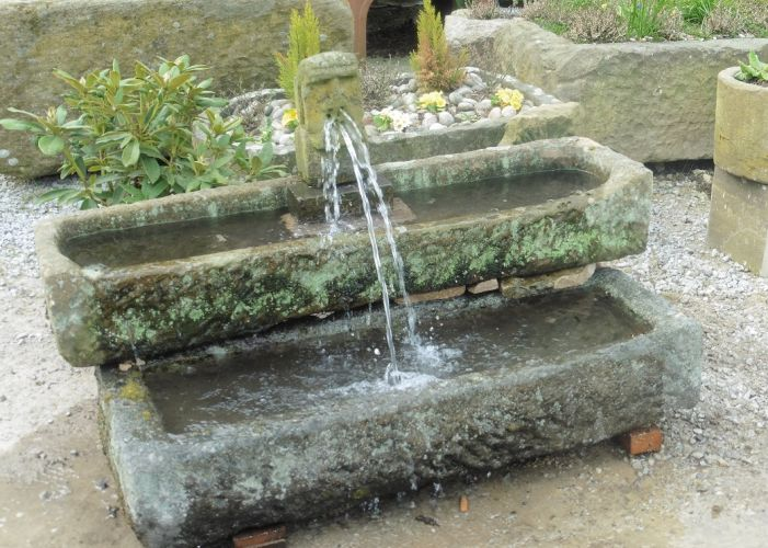 York Stone Trough & Gargoyle Water Feature